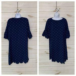 Polka dot dress blue white by Tickled Teal